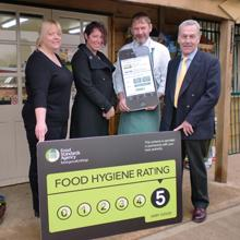 Image of company being awarded a 5 rating for food hygiene